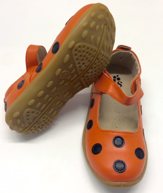 Orange and Black Polka Dots Large Mary Jane