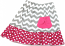 Grey Chevron Hot Pink Polka Dot Ruffle Skirt w/ Pocket