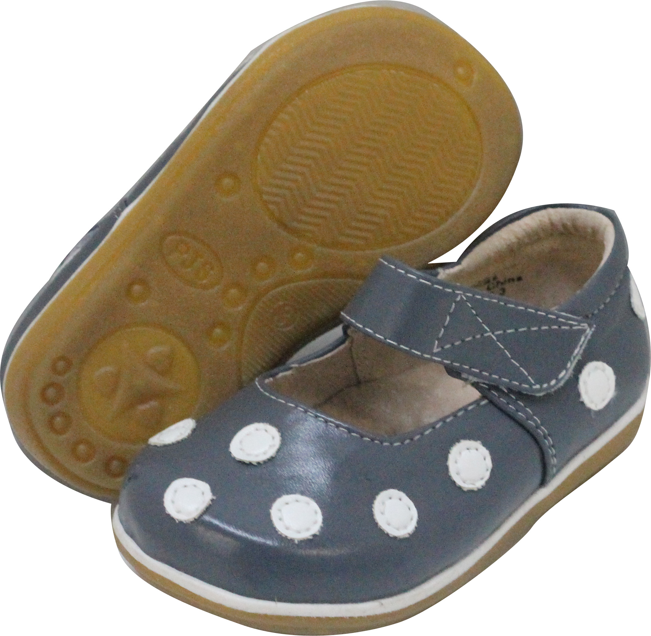 Grey with White Polka Dot Toddler Mary Jane