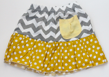 Grey Chevron Yellow Polka Dot Ruffle Skirt w/ Pocket