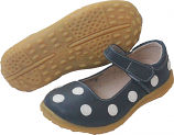 Grey with White Polka Dots Large Mary Jane